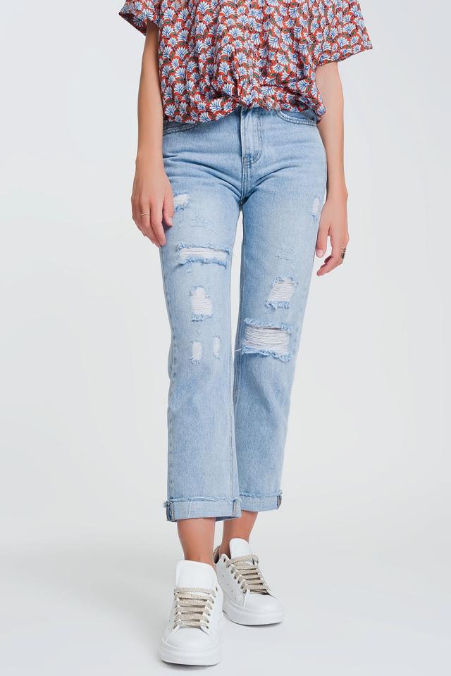 Jeans dritti anni '90 con strapp