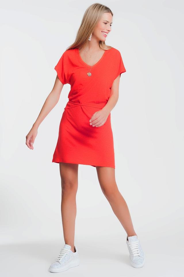 Vestito in maglina con scollo a V rosso