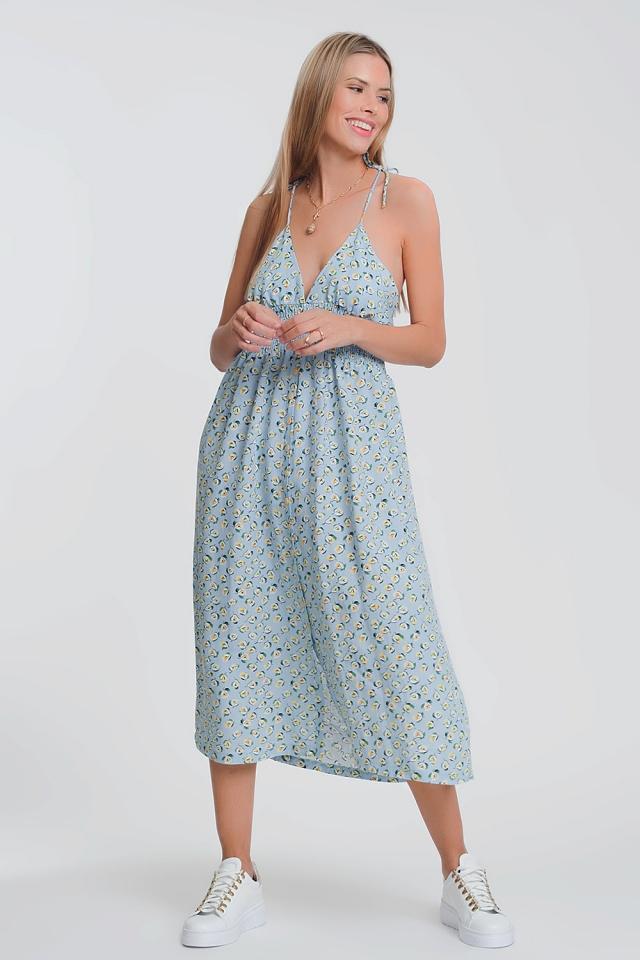 Vestito lungo blu a fiori con schiena scoperta