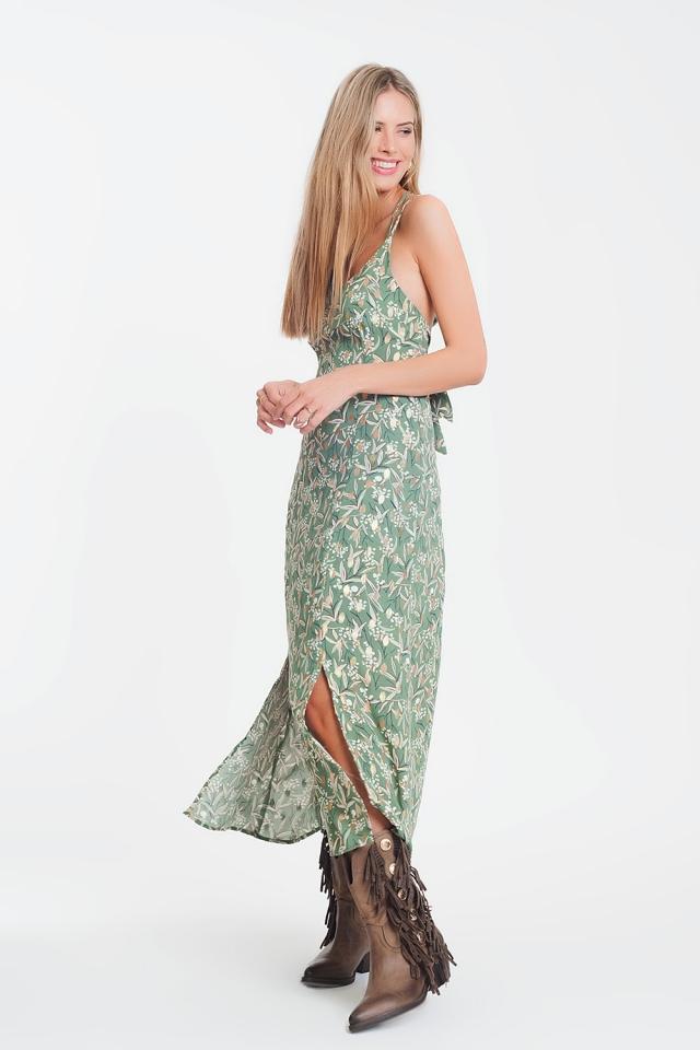 Vestito lungo con spalline sottili e apertura sulla schiena a fiori