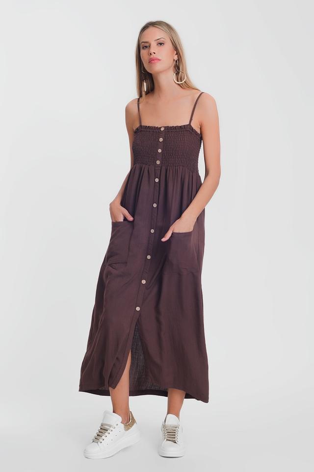 Vestito lungo marrone con corpino arricciato