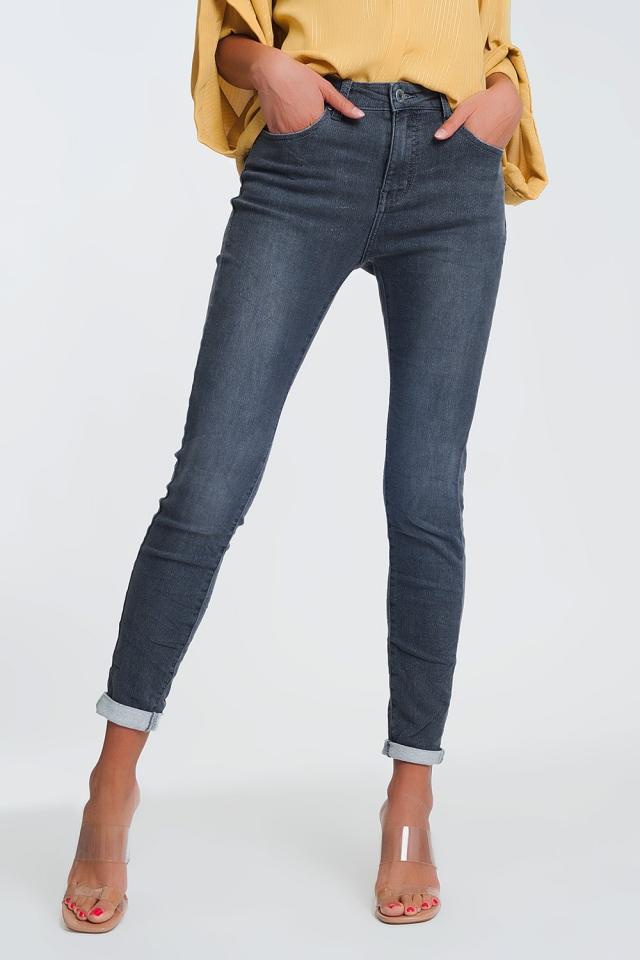jeans vita alta con glitter