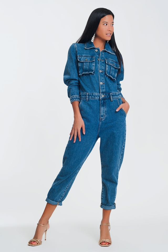 Tuta jumpsuit in denim slavato con bottoni sul davanti