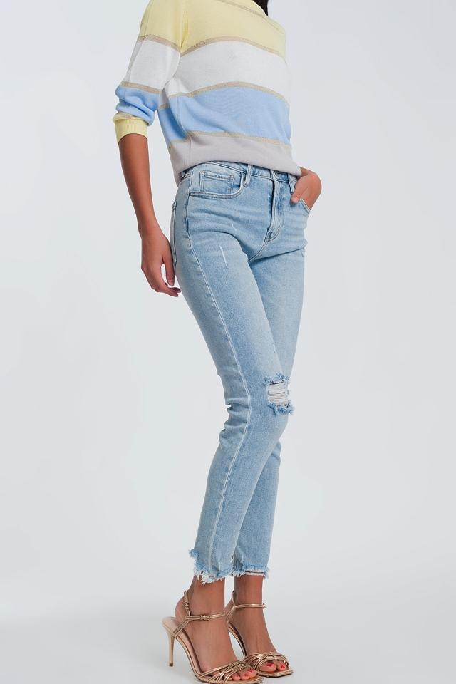 Jeans stile dritti in azzurro