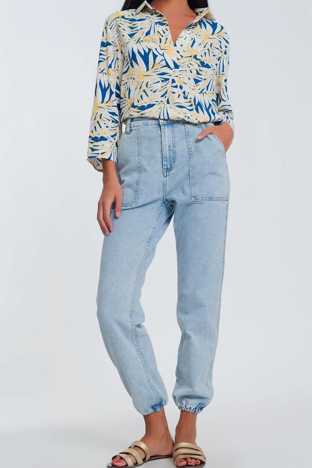 Jeans con tasche ovoidali azzurri