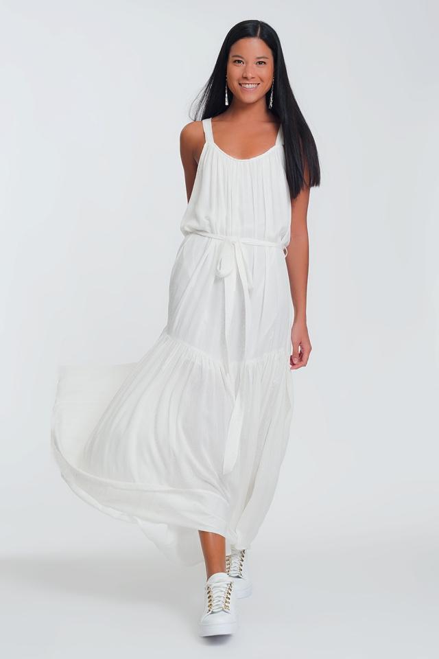 Vestito lungo bianco con incrocio sul retro