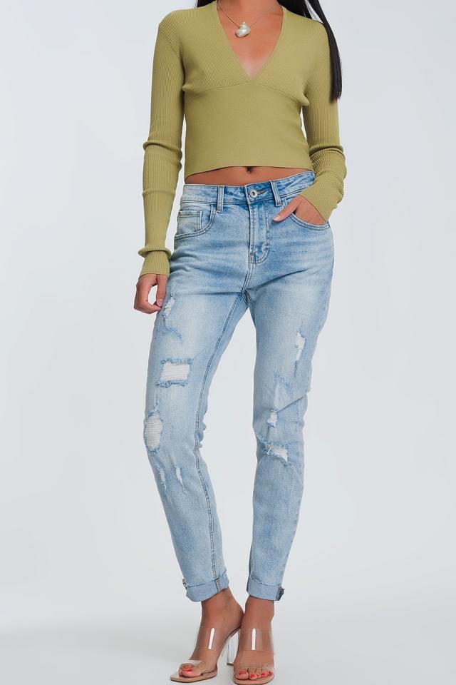 Boyfriend jeans azzurri con strappi