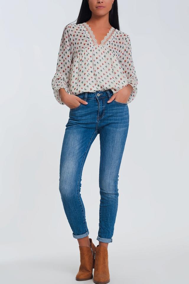 Jeans skinny a vita meta azzurri