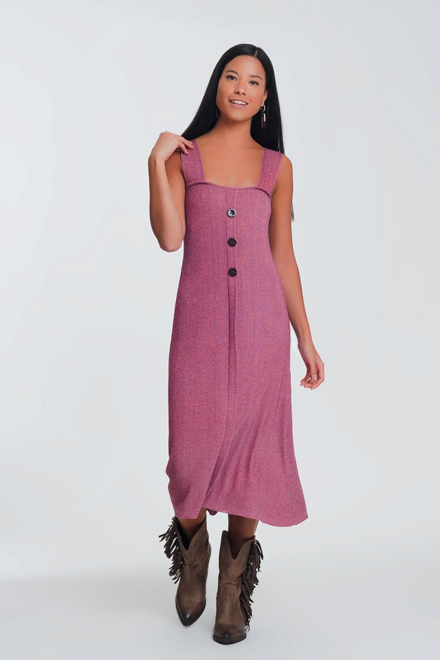 Midi dress with buttons in pink color