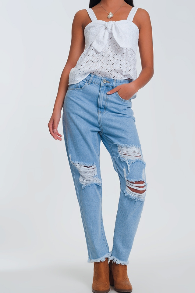 high waisted straight jeans with ripped knees