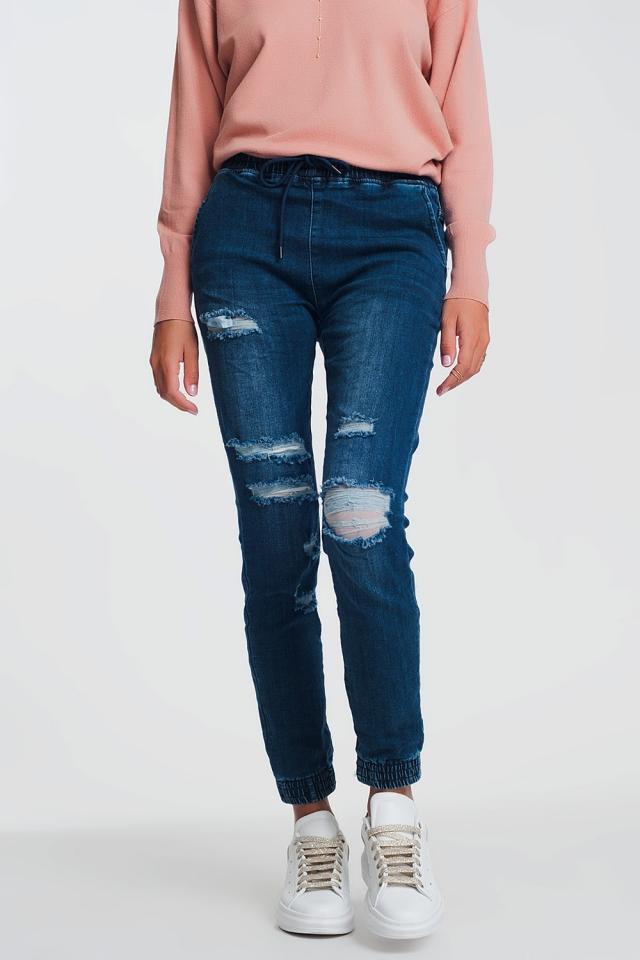 Jeans stile joggers leggeri in denim scuro