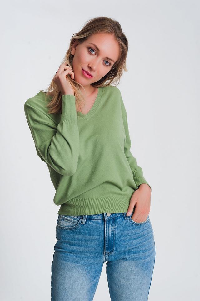 Maglione lavorato leggero con scollo a V verde