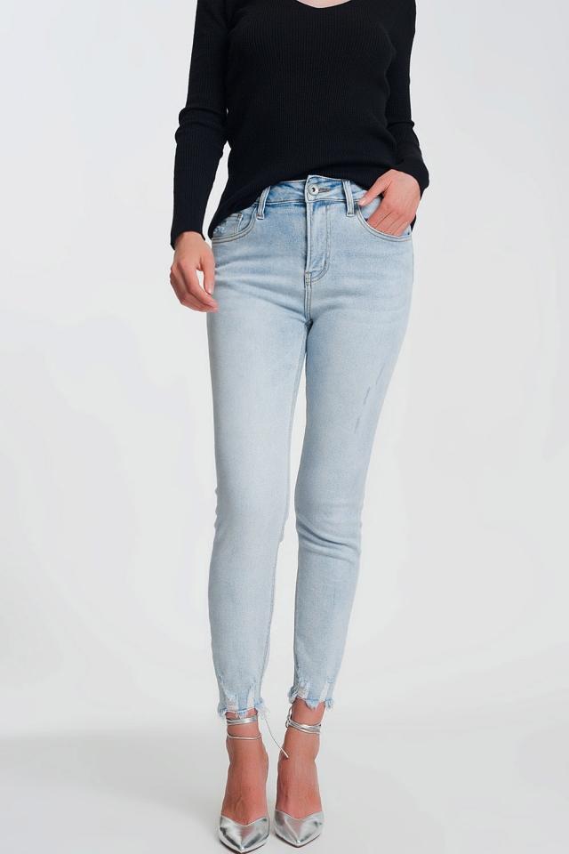 Jeans skinny vita alta con fondo azzurro