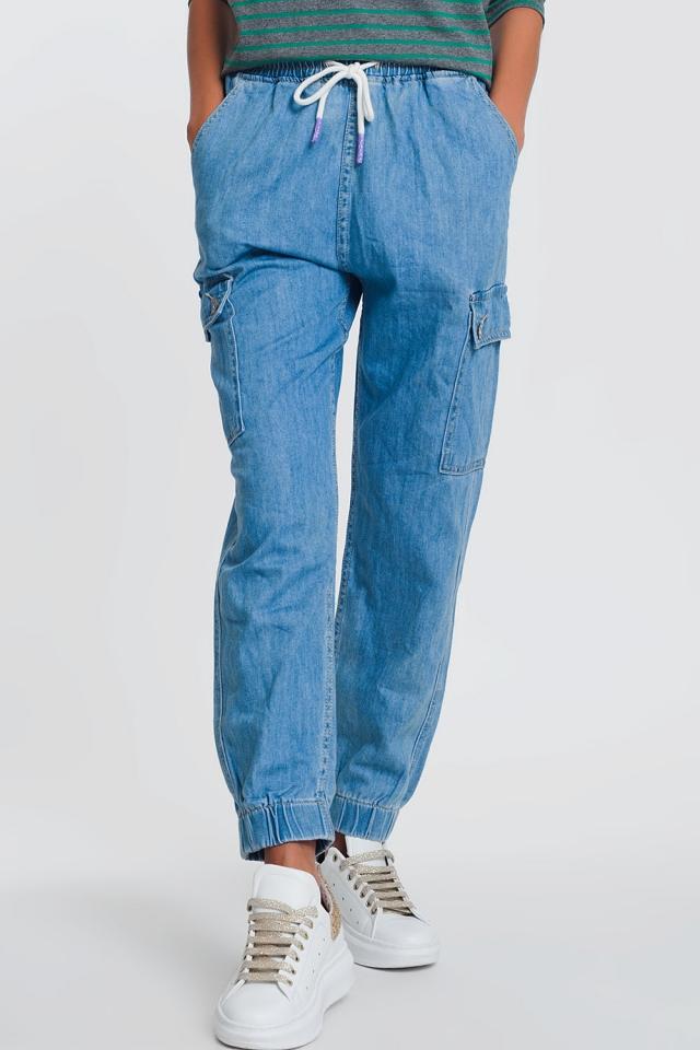 Joggers di jeans con tasche azzurro