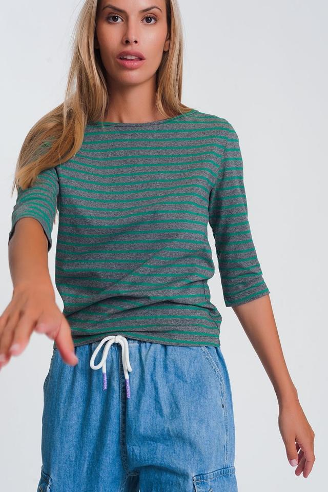 Camicia a righe con maniche 3/4 e scollo a barchetta verde