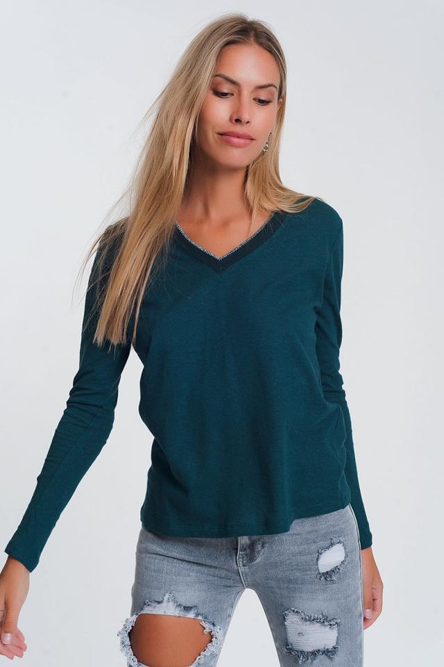 Maglione leggero con scollo a V glitterato verde
