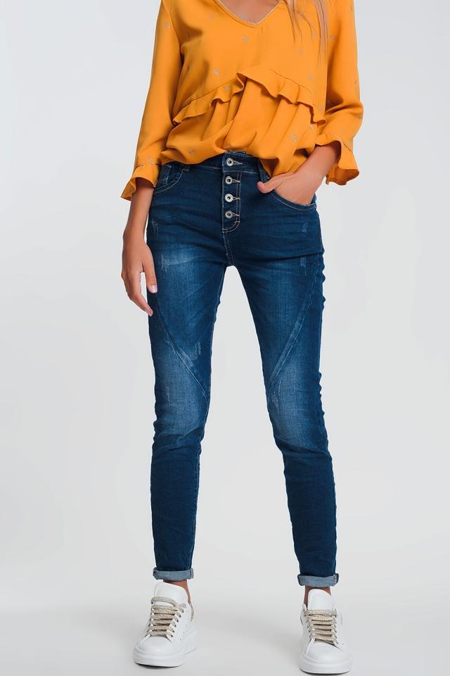 Boyfriend jeans in denim chiaro in lavaggio blu medio scuro