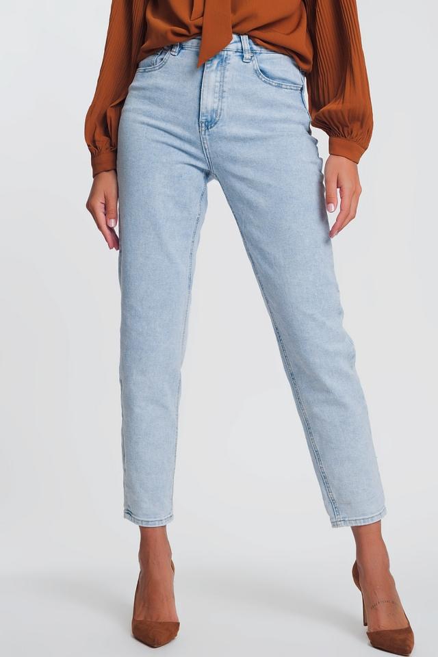 Mom jeans a vita alta azzurri