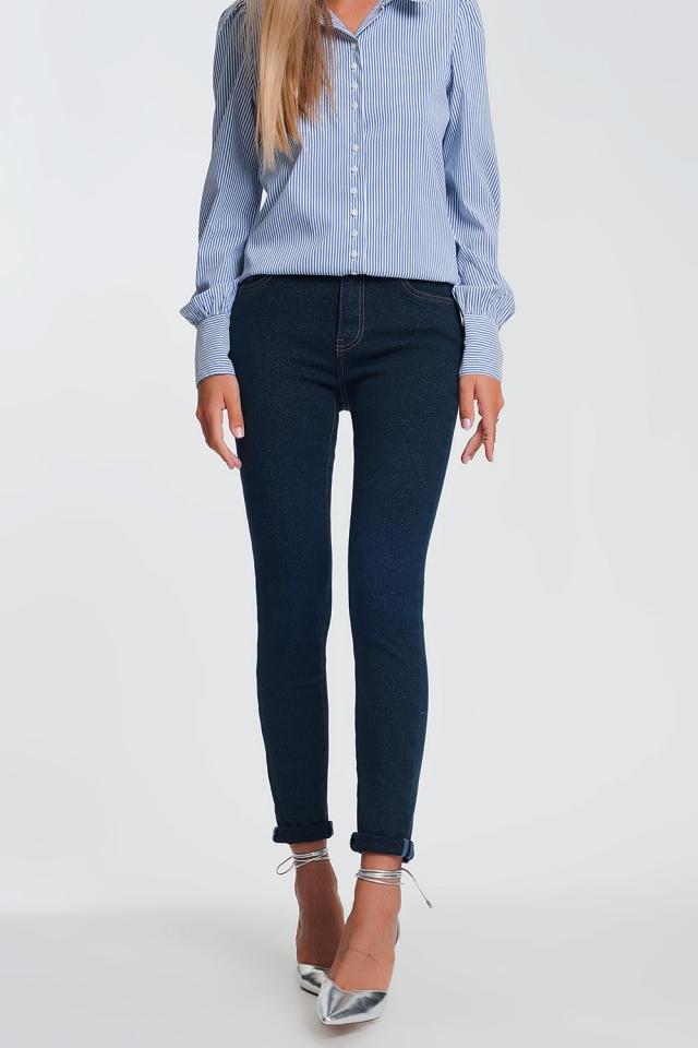 Jeans brillantinati a vita alta lavaggio scuro