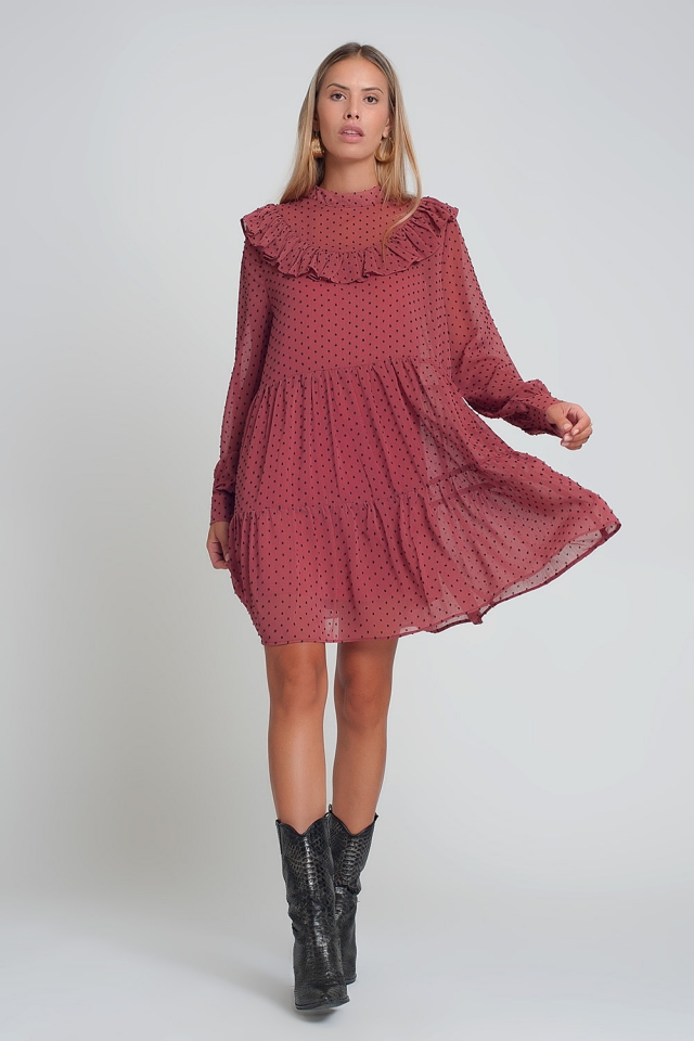 Pink chiffon dress with long sleeves and ruffles