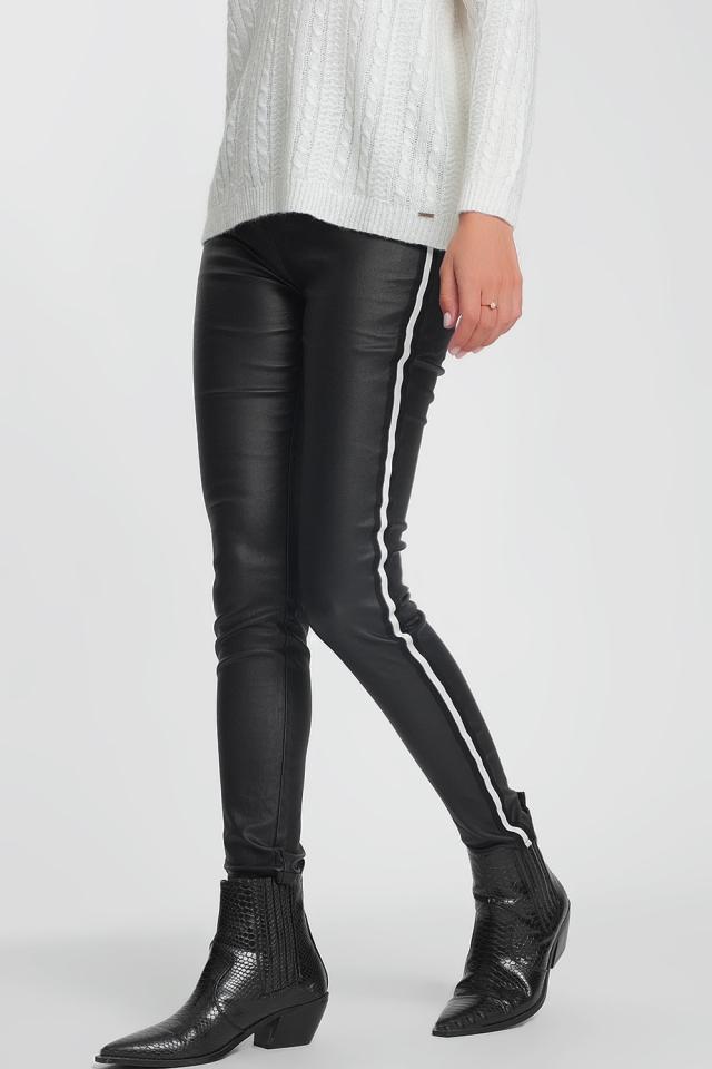 Black leggings with white stripes