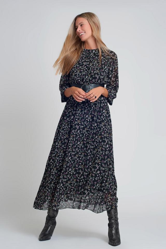Vestito lungo in chiffon con maniche a sbuffo e cintura in stampa floreale nera