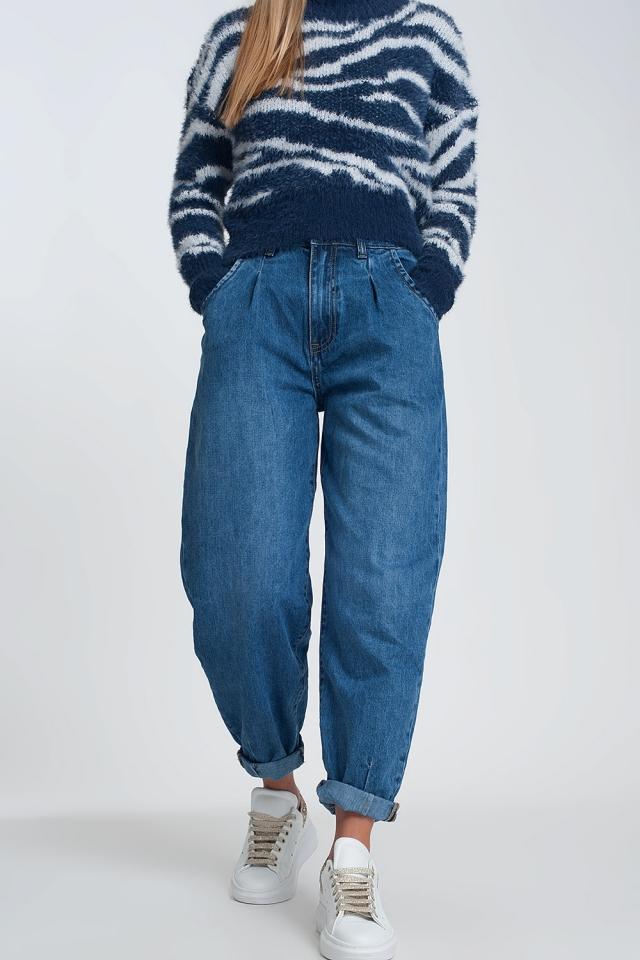 Mom jeans a vita alta con due ruches in vita in blu lavaggio scuro