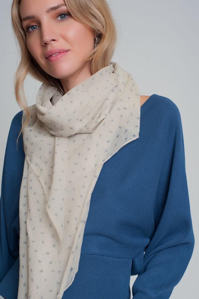 Sciarpa leggera color crema con motivo paisley