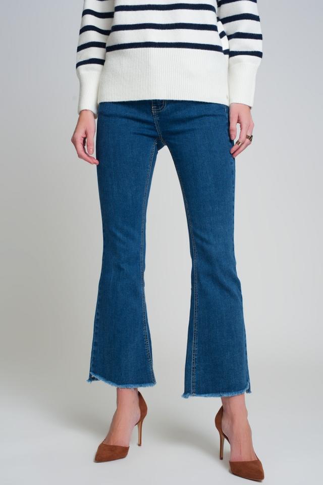Jeans flare a vita alta in blu lavaggio scuro