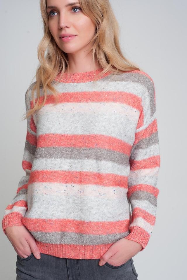 Maglione girocollo rosso con righe e maniche lunghe