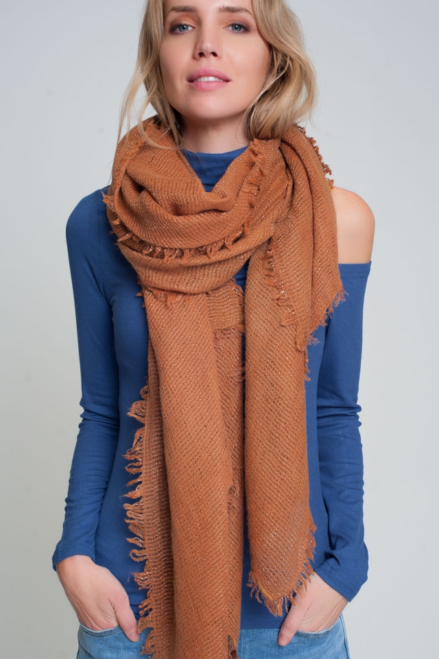 Sciarpa lavorata a maglia leggera in arancione