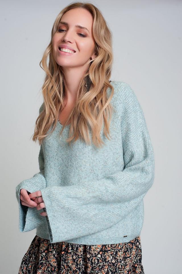 Maglione con maniche ampie in maglia a coste color verde
