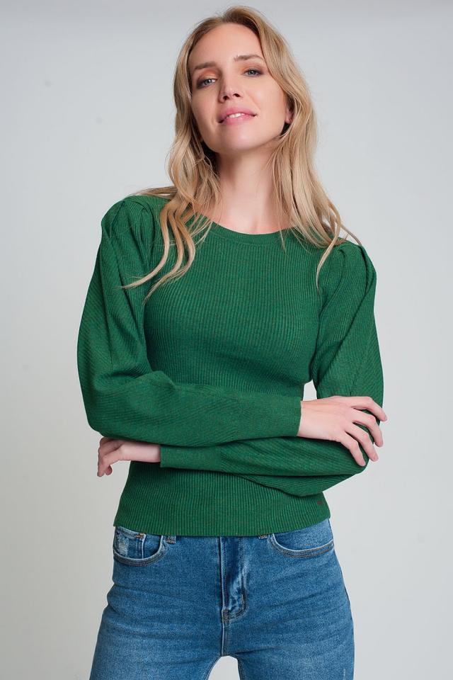Maglione girocollo lavorato verde a coste con maniche lunghe