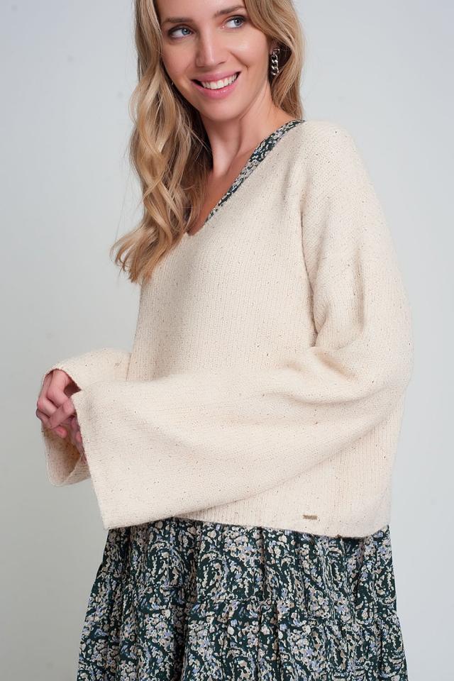 Maglione con maniche ampie in maglia a coste color beige
