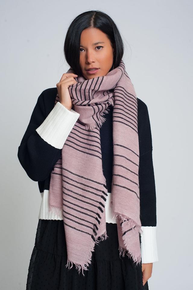 Sciarpa rosa con strisce nere