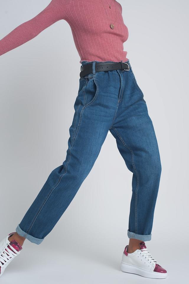 Boyfriend jeans a vita alta bombati azzurro blu