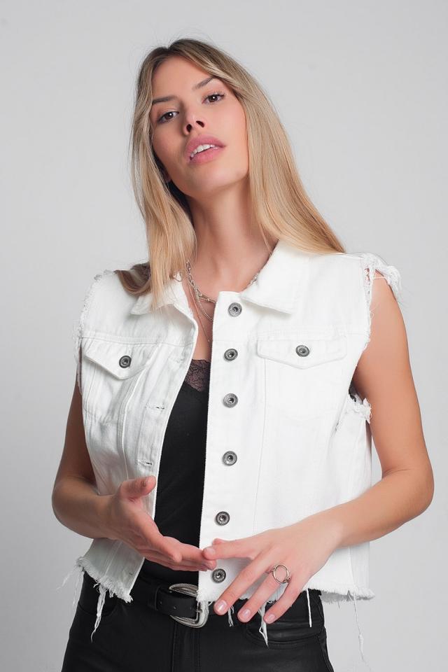 Gilet di jeans bianco