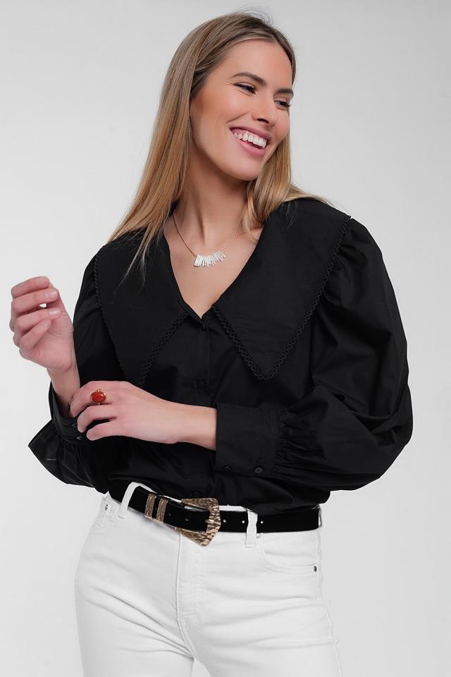 Camicia nera con collo extra large