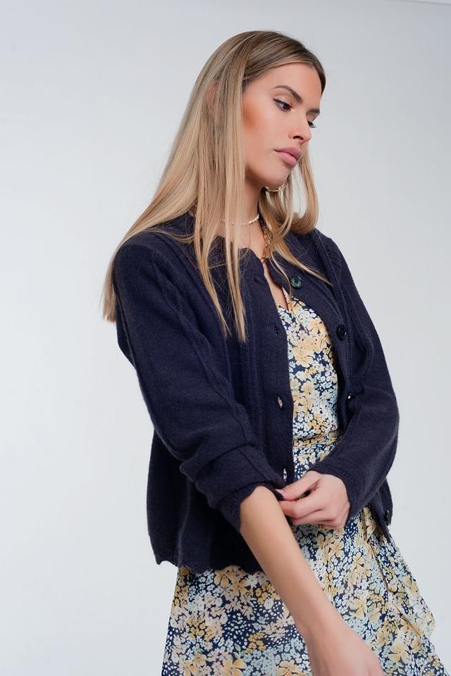 Cardigan corto anni '90 con bottoni anteriori blu navy