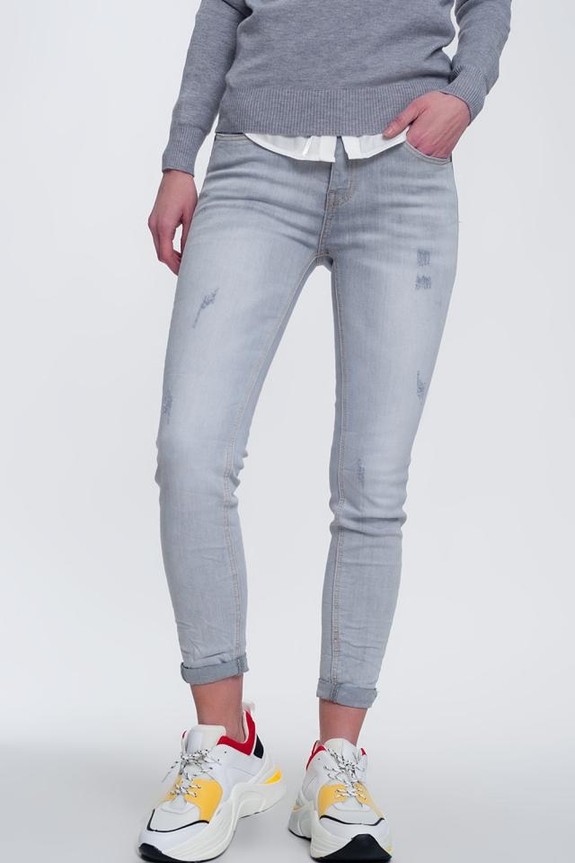 Jeans skinny grigio sfumato