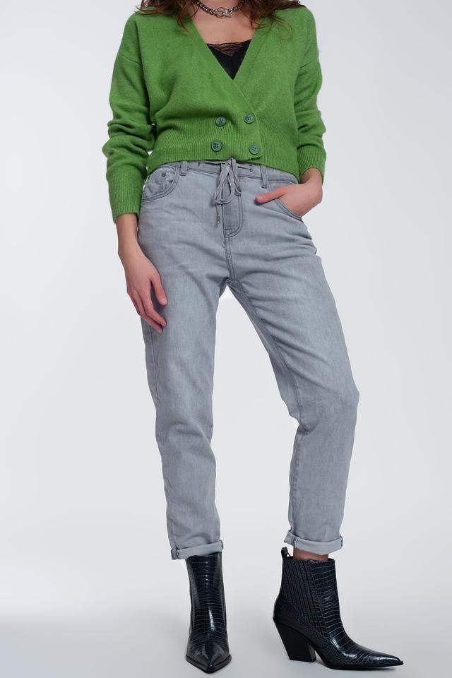 Jeans stile joggers leggeri lavaggio medio grigio