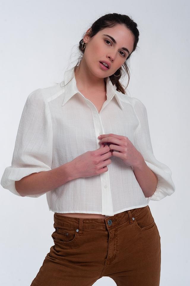 Camicia corta panna con maniche a sbuffo