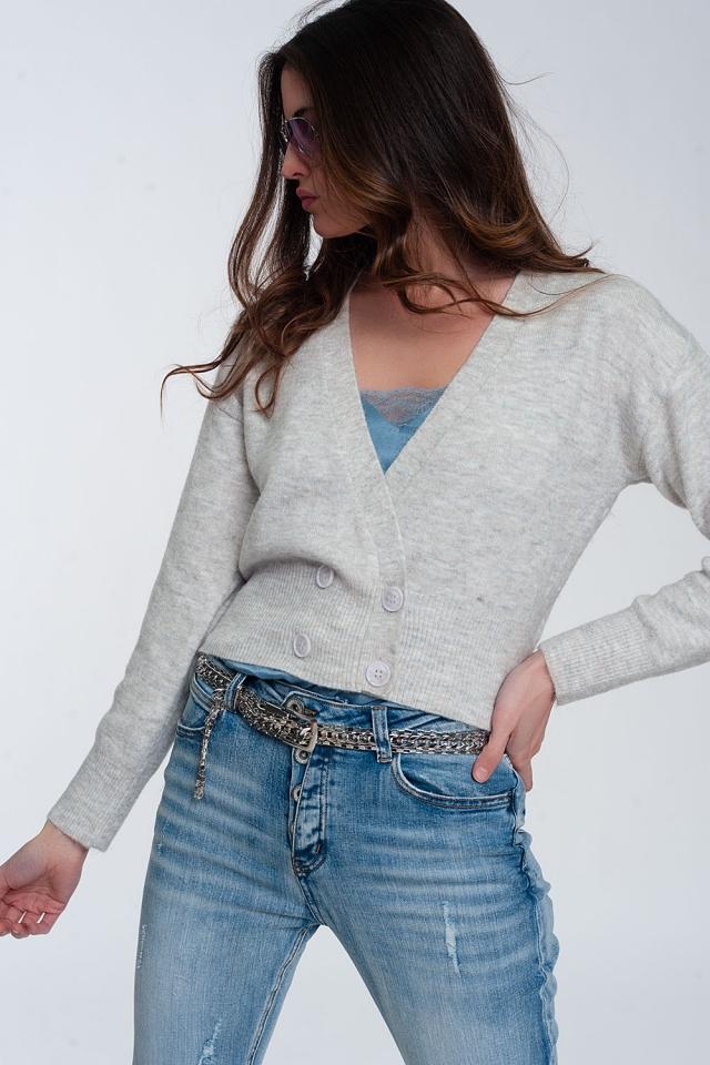 Cardigan corto in maglia grigio chiaro con bottoni anteriori