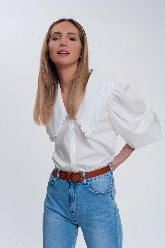 Camicia bianco con collo extra large