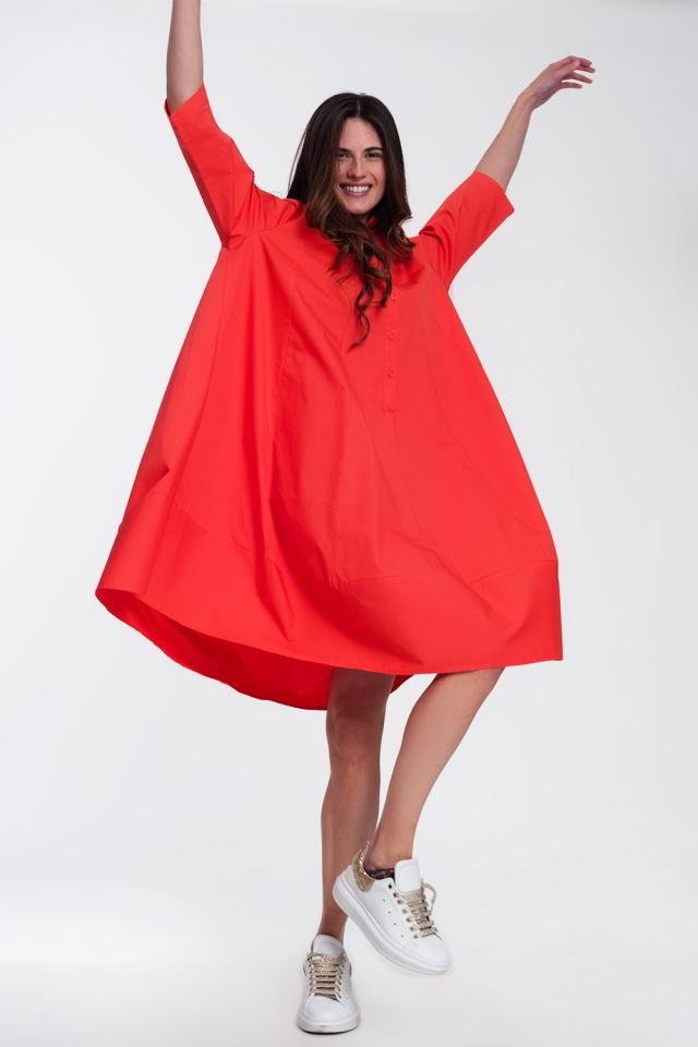 Vestito camicia oversize rosso