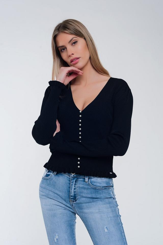Maglione con fronte perla in nero