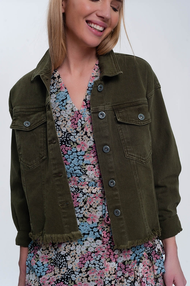 Raw hem denim jacket in green