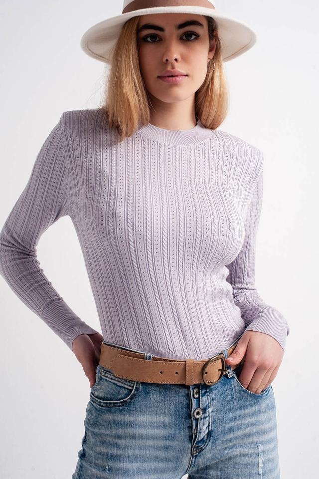 Maglione con spalline imbottite colore lilla