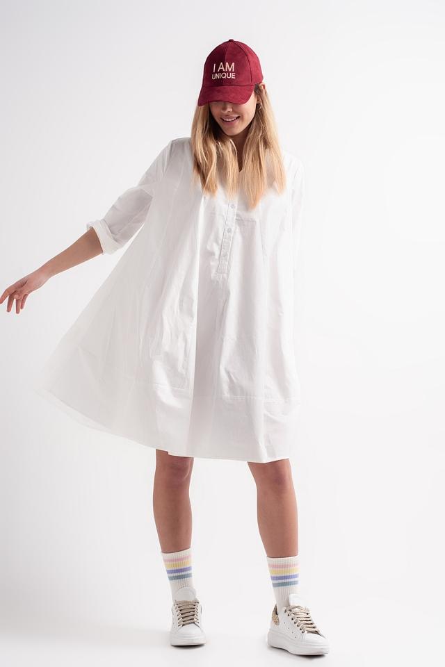 Vestito grembiule oversize in popeline di cotone bianco