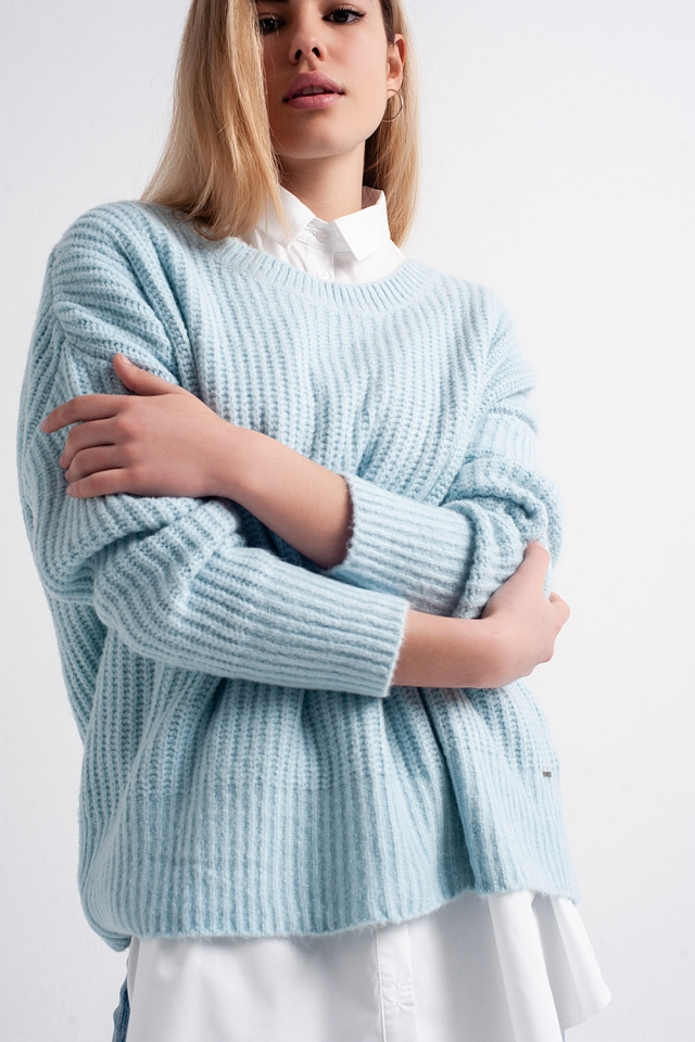 Maglione oversize turchese in maglia a coste inglesi